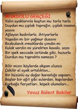 Yavuz Bülent Bakiler Anadolu Gerçeği Şiiri