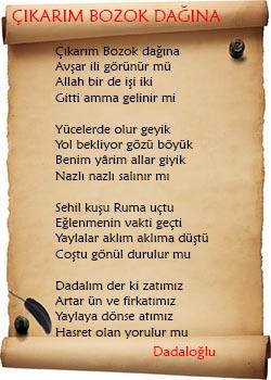 Çıkarım Bozok Dağına Şiiri