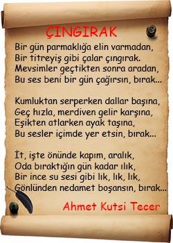 Ahmet Kutsi Tecer Çıngırak Şiiri