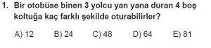 10. Sınıf Matematik kazanım Test 1 soru1