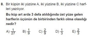 10. Sınıf Matematik kazanım Test 2 soru8