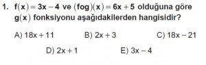 10. Sınıf Matematik kazanım Test 4  soru1