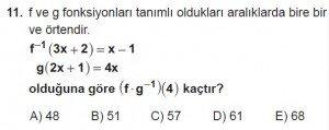 10. Sınıf Matematik kazanım Test 4  soru11