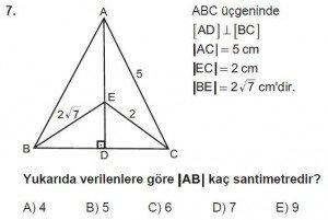 10. Sınıf Matematik kazanım Test 7 soru7
