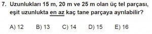 11. Sınıf Temel Matematik kazanım Test 2 soru7