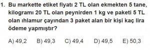 11. Sınıf Temel Matematik kazanım Test 5 soru1