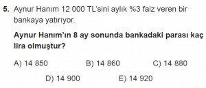 11. Sınıf Temel Matematik kazanım Test 5 soru5