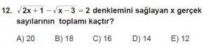 11. Sınıf ileri Matematik kazanım Test 6 soru12