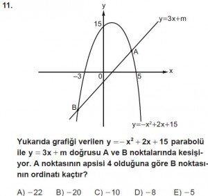 11. Sınıf ileri Matematik kazanım Test 7 soru11