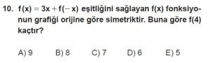 12. Sınıf Matematik kazanım Test 1 soru10