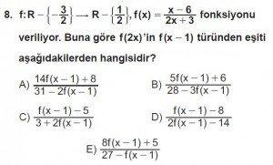 12. Sınıf Matematik kazanım Test 1 soru8