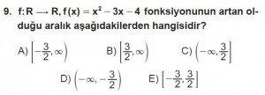 12. Sınıf Matematik kazanım Test 1 soru9