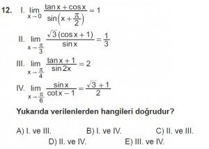 12. Sınıf Matematik kazanım Test 3 soru12