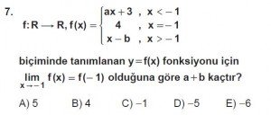 12. Sınıf Matematik kazanım Test 3 soru7