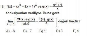 12. Sınıf Matematik kazanım Test 3 soru8
