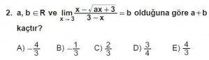 12. Sınıf Matematik kazanım Test 4 soru2