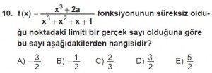 12. Sınıf Matematik kazanım Test 5 soru10