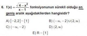 12. Sınıf Matematik kazanım Test 5 soru6