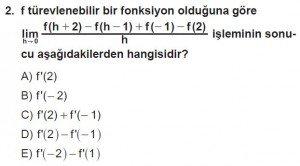 12. Sınıf Matematik kazanım Test 6 soru2
