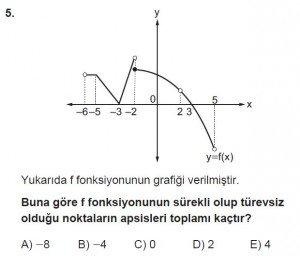 12. Sınıf Matematik kazanım Test 6 soru5