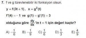 12. Sınıf Matematik kazanım Test 6 soru7
