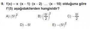 12. Sınıf Matematik kazanım Test 6 soru9