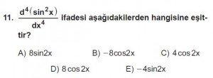 12. Sınıf Matematik kazanım Test 8 soru11
