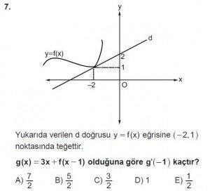 12. Sınıf Matematik kazanım Test 8 soru7
