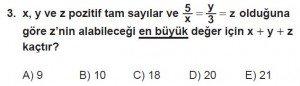12. Sınıflar Matematik kazanım Test 1 soru3