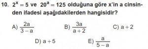 12. Sınıflar Matematik kazanım Test 10 soru10