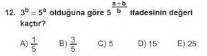 12. Sınıflar Matematik kazanım Test 10 soru12