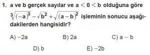 12. Sınıflar Matematik kazanım Test 12 soru1