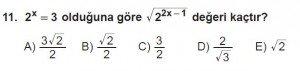 12. Sınıflar Matematik kazanım Test 12 soru11