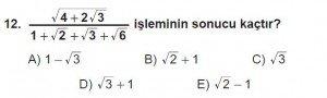 12. Sınıflar Matematik kazanım Test 12 soru12