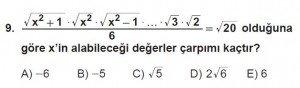 12. Sınıflar Matematik kazanım Test 12 soru9