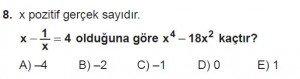 12. Sınıflar Matematik kazanım Test 13 soru8