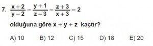 12. Sınıflar Matematik kazanım Test 16 soru7