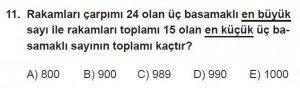 12. Sınıflar Matematik kazanım Test 2 soru11