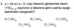 12. Sınıflar Matematik kazanım Test 2 soru2