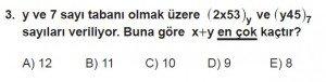 12. Sınıflar Matematik kazanım Test 2 soru3