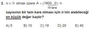 12. Sınıflar Matematik kazanım Test 4 soru2