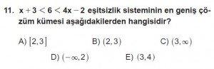 12. Sınıflar Matematik kazanım Test 8 soru11