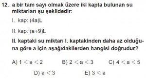 12. Sınıflar Matematik kazanım Test 8 soru12