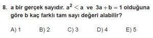 12. Sınıflar Matematik kazanım Test 8 soru8