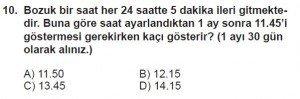 5. Sınıf Matematik kazanım Test 4 soru10
