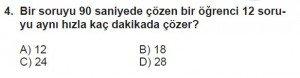 5. Sınıf Matematik kazanım Test 4 soru4