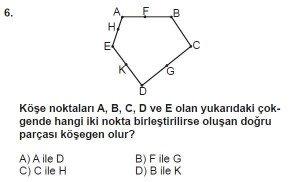 5. Sınıf Matematik kazanım Test 8 soru 6
