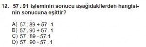 6. Sınıf Matematik kazanım Test 1 soru 12