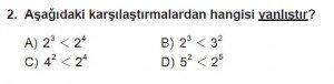 6. Sınıf Matematik kazanım Test 1 soru 2