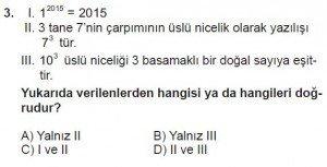 6. Sınıf Matematik kazanım Test 1 soru 3